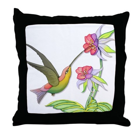 Hummingbird Flight  Art Throw Pillow by CafePress