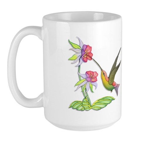 Hummingbird Flight  Art Large Mug by CafePress