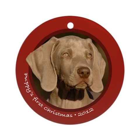 Weim Puppy's 1st Christmas Round Red Ornament Pets Round Ornament by CafePress