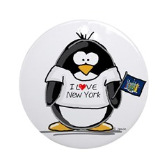 New York Penguin Ornament (Round)