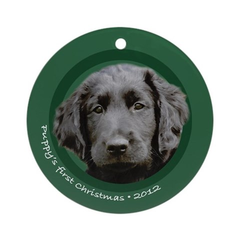 Flat Coat Retriever Puppy's 1st Christmas Ornament Pets Round Ornament by CafePress