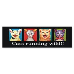 Cats running wild! Sticker (Bumper)
