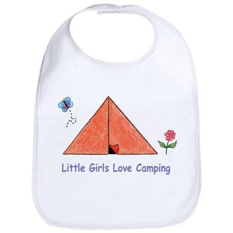 - Little Girls Love Camping Art Bib by CafePress