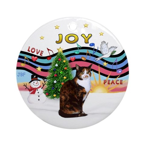 XMusic1-Calico amp; white cat Ornament Round Cats Round Ornament by CafePress