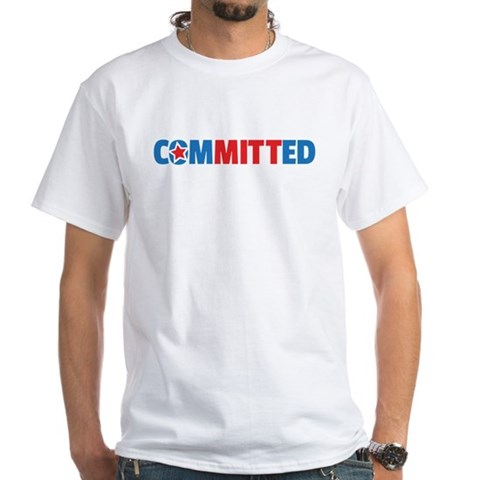Product Image of ComMITTed Blue and Red Political White TShirt