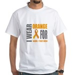Orange Awareness Ribbon Customized White T-Shirt
