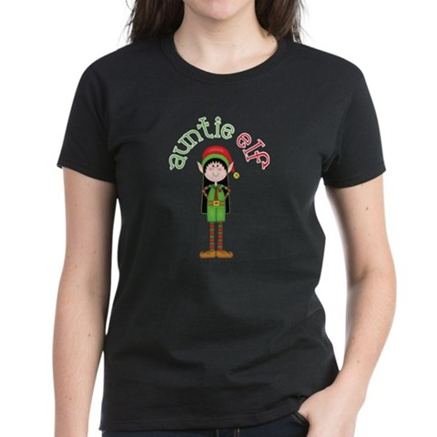 Product Image of Auntie Christmas Elf Women's Dark T-Shirt
