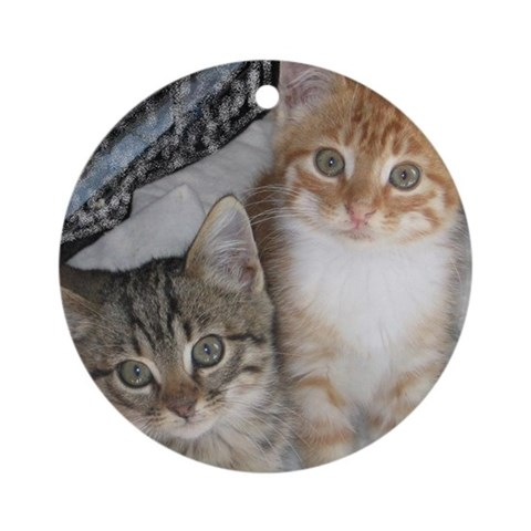 Orange and Gray Tabby Kitty Cats Ornament Round Pets Round Ornament by CafePress