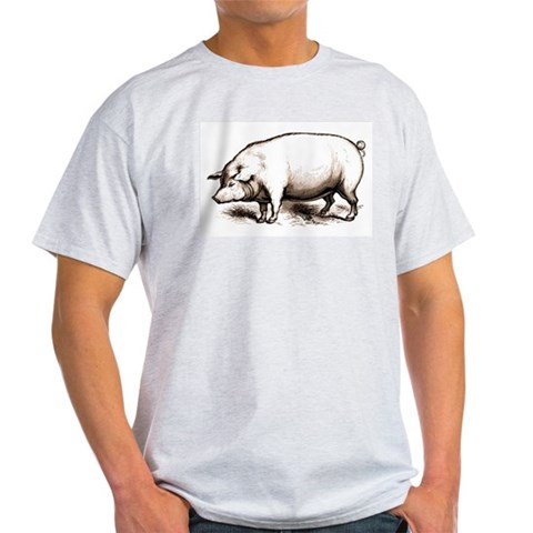 Victorian Pig Ash Grey T-Shirt Animals Light T-Shirt by CafePress