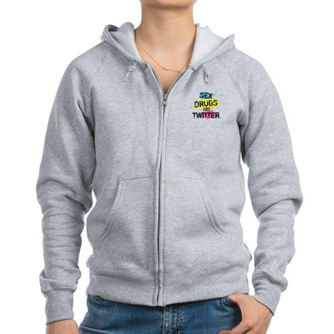 Sex Drugs And Twitter  Internet Women's Zip Hoodie by CafePress