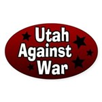 Utah Against War Oval Bumper Sticker