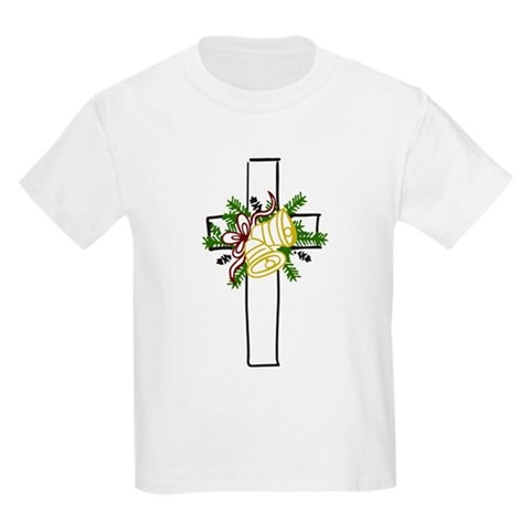 Christmas Cross Holiday Kids Light T-Shirt by CafePress