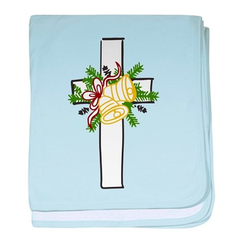 Christmas Cross Holiday baby blanket by CafePress