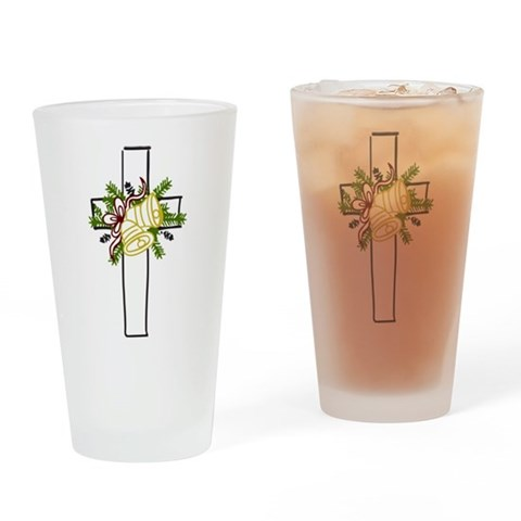 Christmas Cross Holiday Drinking Glass by CafePress