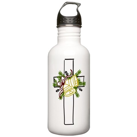 Christmas Cross Holiday Stainless Water Bottle 1.0L by CafePress