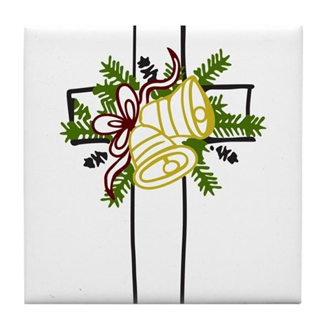 Christmas Cross Holiday Tile Coaster by CafePress
