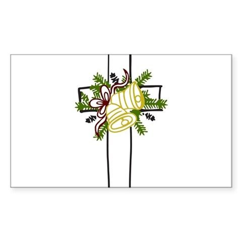 Christmas Cross Holiday Sticker Rectangle by CafePress