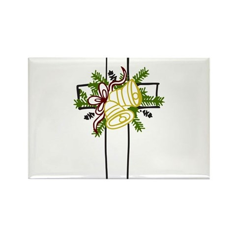 Christmas Cross Holiday Rectangle Magnet by CafePress