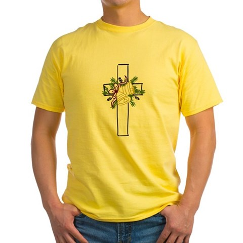 Christmas Cross Holiday Yellow T-Shirt by CafePress