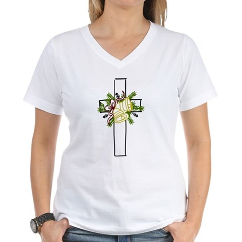 Christmas Cross Holiday Women's V-Neck T-Shirt by CafePress