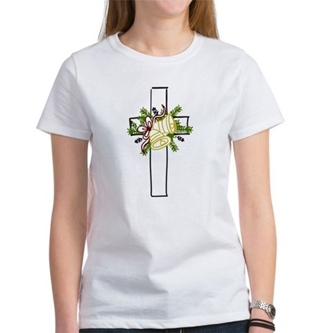 Christmas Cross Holiday Women's T-Shirt by CafePress