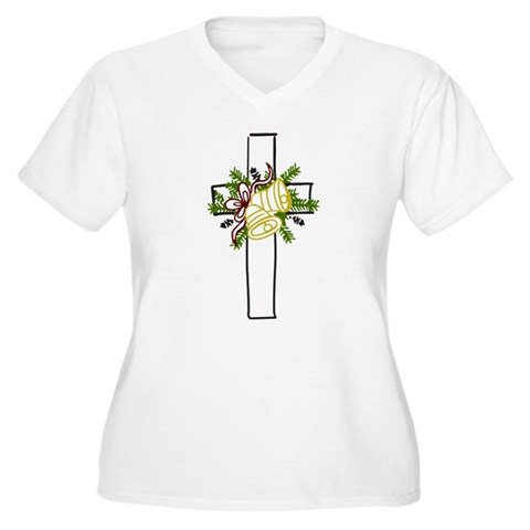 Christmas Cross Holiday Women's Plus Size V-Neck T-Shirt by CafePress