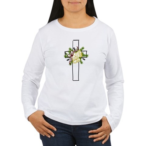 Christmas Cross Holiday Women's Long Sleeve T-Shirt by CafePress