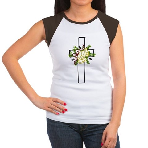 Christmas Cross Holiday Women's Cap Sleeve T-Shirt by CafePress