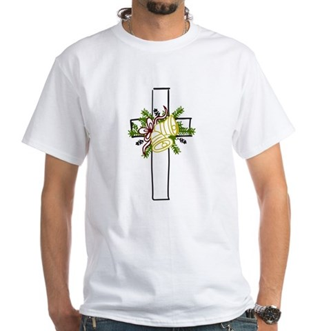 Christmas Cross Holiday White T-Shirt by CafePress