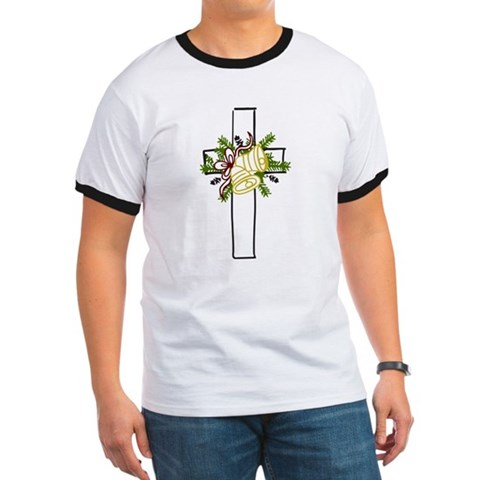 Christmas Cross Holiday Ringer T by CafePress