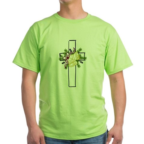 Christmas Cross Holiday Green T-Shirt by CafePress