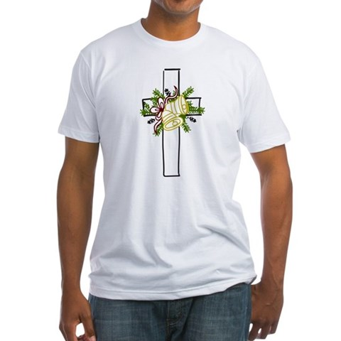 Christmas Cross Holiday Fitted T-Shirt by CafePress