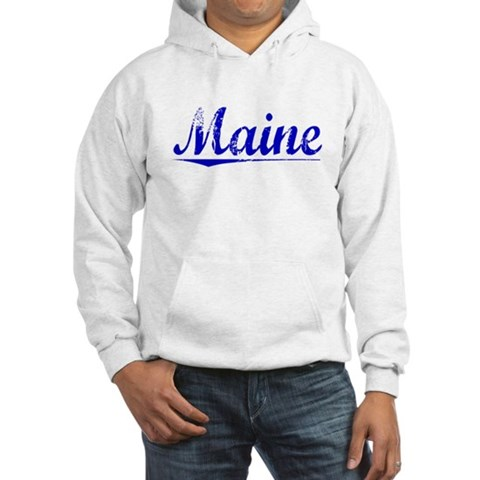Maine, Blue, Aged Maine Hooded Sweatshirt by CafePress