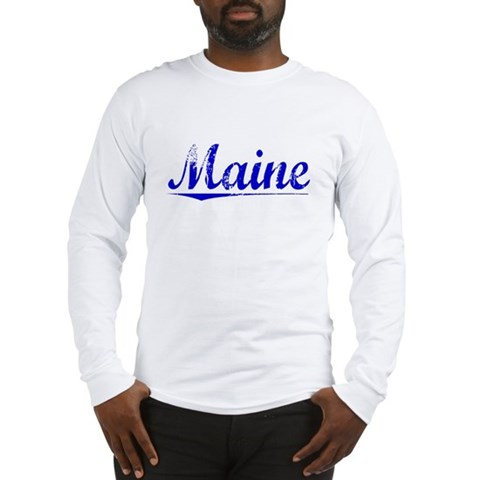 Maine, Blue, Aged Maine Long Sleeve T-Shirt by CafePress