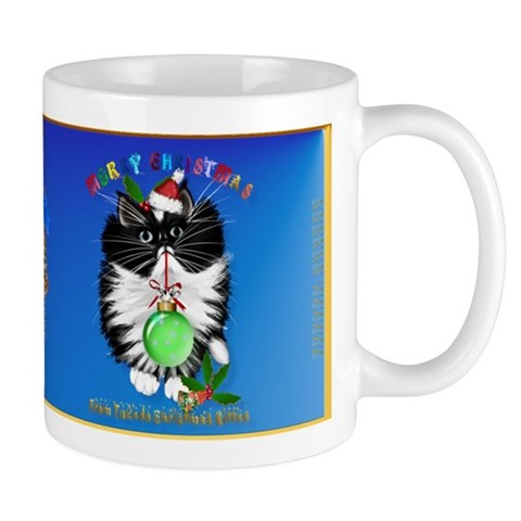 A Tuxedo Kitten Christmas Cats Mug by CafePress