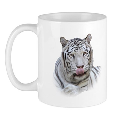 White Tiger Licking Lips and Dozing Cat Mug by CafePress