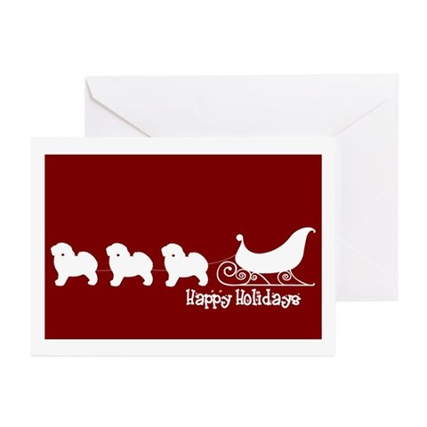 Bichon Frise Sleigh Greeting Card Pk of 10 Pets Greeting Cards Pk of 10 by CafePress