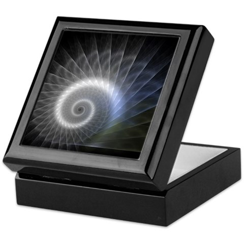 - Blue Spiral Art / photography Keepsake Box by CafePress
