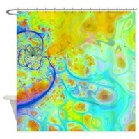 Emerging Galaxies Teal & Lime Shower Curtain