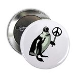 Peace Penguin Metal Pinback Button