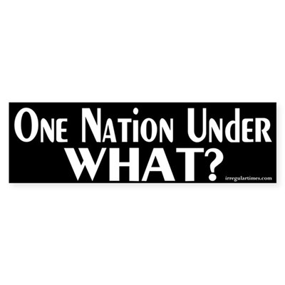 One Nation Under What? Bumper Sticker