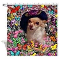 Chi Chi Chihuahua Butterflies Shower Curtain