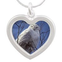Snowy White Owl Silver Heart Necklace
