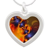 Orange Eyes Aglow Silver Heart Necklace