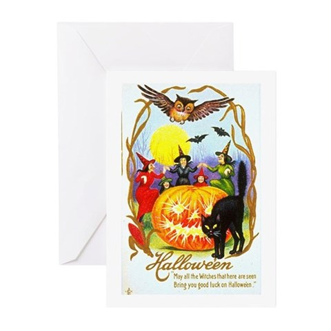 Halloween Witches Black Cat Greeting Cards Pack Cute Greeting Cards Pk of 10 by CafePress