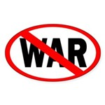 Red Slash Through War bumper sticker