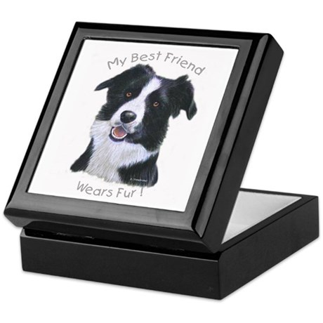 Wooden Hinged Top My Best Friend Is A Border Collie Keepsake Box