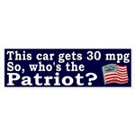 30 mpg Patriot Bumper Sticker