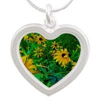 Black-Eyed Susans Silver Heart Necklace