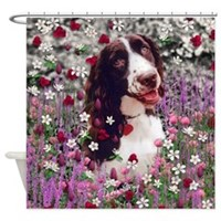 Lady Brittany Spaniel in Flowers Shower Curtain